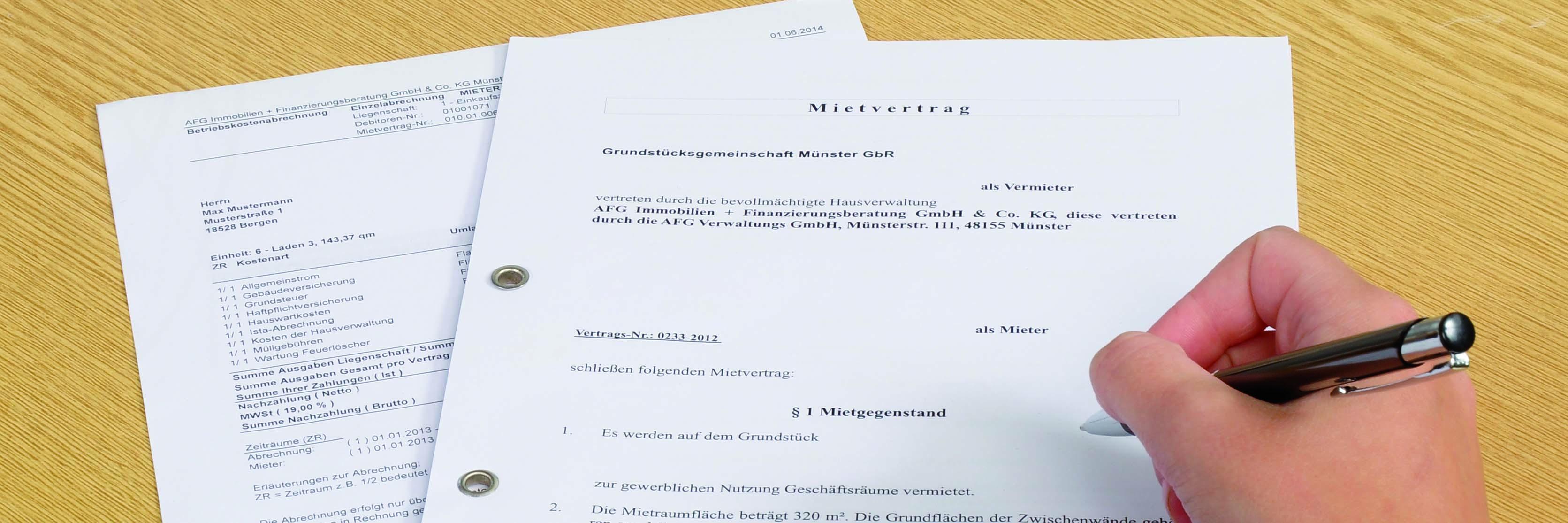 Vermietungsservice - abgeschlossener Mietvertrag